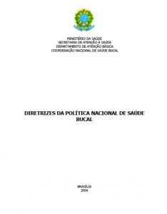 Capa de Livro: Diretrizes da Política Nacional de Saúde Bucal